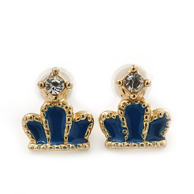 Children's/ Teen's / Kid's Tiny Navy Blue Enamel 'Crown' Stud Earrings In Gold Plating - 8mm Length