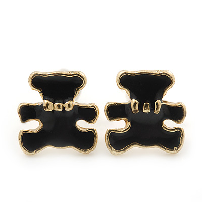Children's/ Teen's / Kid's Tiny Black Enamel 'Teddy Bear' Stud Earrings In Gold Plating - 8mm Length