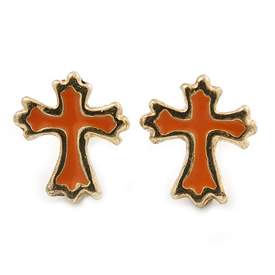 Children's/ Teen's / Kid's Small Coral Enamel 'Cross' Stud Earrings In Gold Plating - 11mm Length