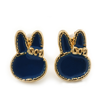 Children's/ Teen's / Kid's Tiny Navy Blue Enamel 'Bunny' Stud Earrings In Gold Plating - 10mm Length