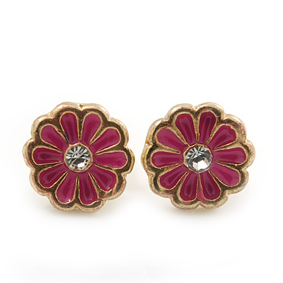 Children's/ Teen's / Kid's Tiny Fuchsia Enamel 'Daisy' Stud Earrings In Gold Plating - 7mm Diameter