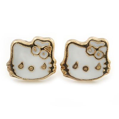 Children's/ Teen's / Kid's Tiny White Enamel 'Kitty' Stud Earrings In Gold Plating - 9mm Diameter