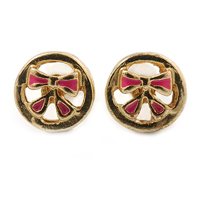 Children's/ Teen's / Kid's Tiny Deep Pink Enamel 'Bow' Stud Earrings In Gold Plating - 8mm Diameter