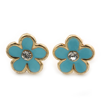 Children's/ Teen's / Kid's Tiny Light Blue Enamel 'Daisy' Stud Earrings In Gold Plating - 8mm Diameter