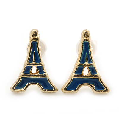 Children's/ Teen's / Kid's Small Navy Blue Enamel 'Eiffel Tower' Stud Earrings In Gold Plating - 12mm Length