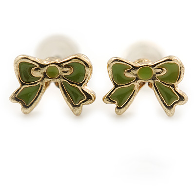 Children's/ Teen's / Kid's Tiny Olive Green Enamel 'Bow' Stud Earrings In Gold Plating - 7mm Length