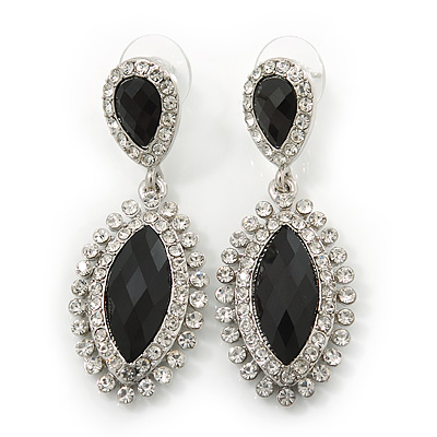 Prom/ Bridal Diamante Black/ Clear Oval Drop Earrings In Rhodium Plating - 50mm Length