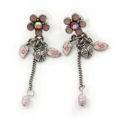 Vintage Inspired Pink Enamel Freshwater Pearl 'Flower & Ladybug' Drop Earrings In Antique Silver Tone - 50mm Length