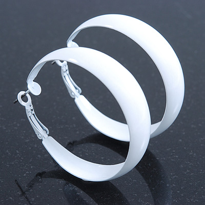 Wide Medium White Enamel Hoop Earrings - 40mm Diameter