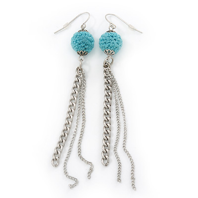 Retro Style Long Light Blue Crochet Chain Dangle Earrings In Silver Tone - 11cm Length