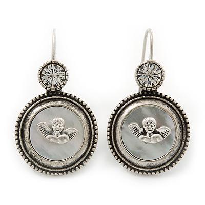 Vintage Inspired Mother of Pearl 'Angel' Drop Earrings In Burn Silver Tone - 35mm Length - main view