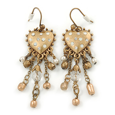 Vintage Inspired Crystal Bead Heart Earrings With Dangles In Antique Gold Tone - 60mm L - main view