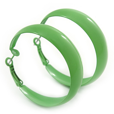 Medium Lime Green Enamel Hoop Earrings - 45mm Diameter
