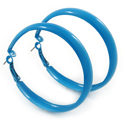 Large Sky Blue Enamel Hoop Earrings - 55mm Diameter