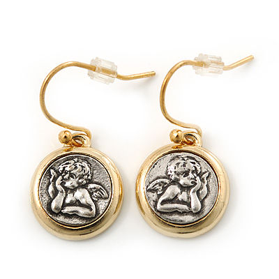 Two Tone Round 'Angel' Drop Earrings - 25mm Length
