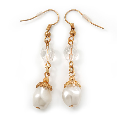 Vintage Inspired Simulated Pearl Bead Drop Earrings In Gold Tone - 50mm Length