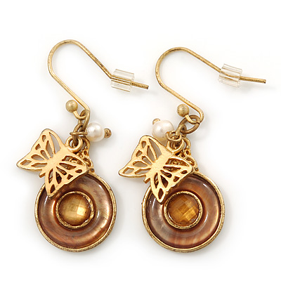 Vintage Inspired Butterfly, Bead & Freshwater Pearl Drop Earring In Gold Tone - 35mm Length