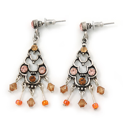 Vintage Inspired Pink, Citrine Beaded Drop Earrings In Silver Tone - 45mm Length