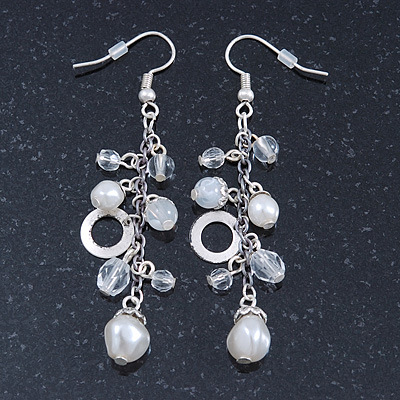Silver Tone Glass, Simulated Pearl Bead Chain Drop Earrings - 65mm Length - main view
