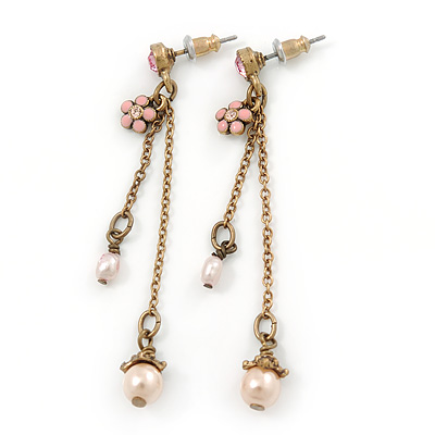 Gold Tone Pink Simulated Pearl, Enamel Flower Double Chain Dangle Earrings - 60mm L