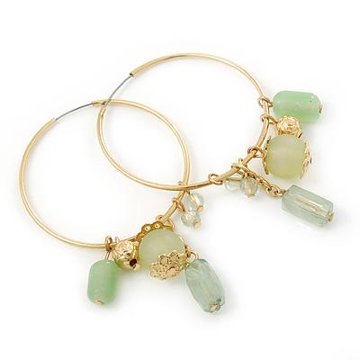 Medium Slim Gold Tone Hoop With Pale Green Bead Charm Earrings - 40mm Diameter