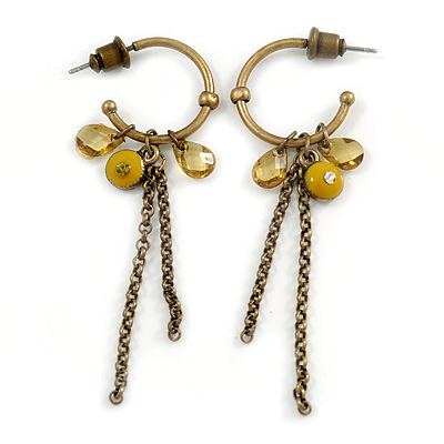 Small Vintage Inspired Bronze Tone Hoop Earrings With Olive Acrylic Beads & Chains - 55mm Length
