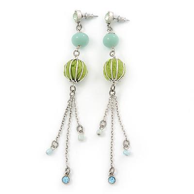 Long Light Green Fabric, Light Blue Glass Bead Chain Dangle Earrings In Silver Tone - 11cm Length