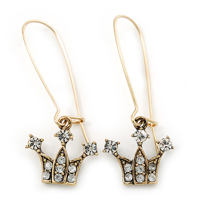 Antique Gold Tone Crystal 'Crown' Drop Earrings - 45mm Length