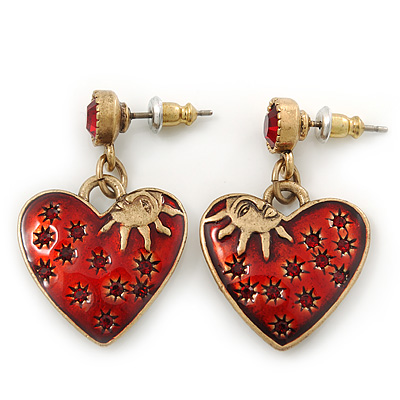 Vintage Inspired Red Enamel, Crystal 'Heart' Drop Earrings In Antique Gold Metal - 33mm Length - main view