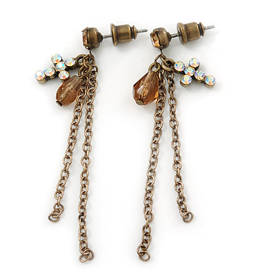 Vintage Inspired Chain, Cross, Bead Drop Earrings In Bronze Tone - 50mm Length