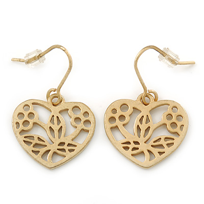 Matt Gold Tone Heart Drop Earrings - 25mm Length - main view