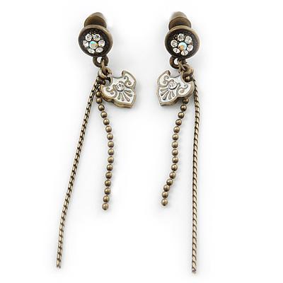 Vintage Inspired Bronze Tone Crystal Tassel Drop Earrings - 60mm Length