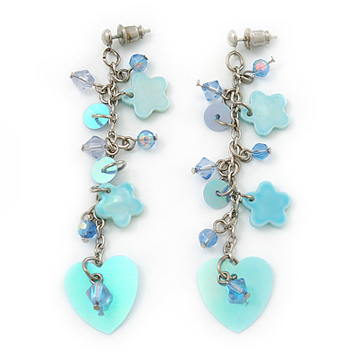 Light Blue Sequin Bead, Shell Flower, Heart Chain Drop Earrings In Silver Tone - 75mm Length