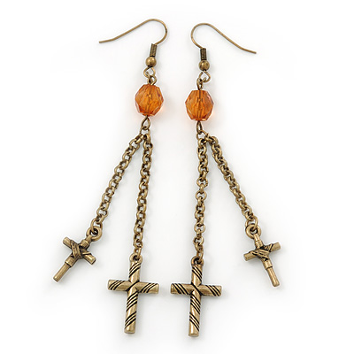 Long Vintage Inspired Chain Cross Dangle Earrings In Burn Gold Metal - 95mm Length