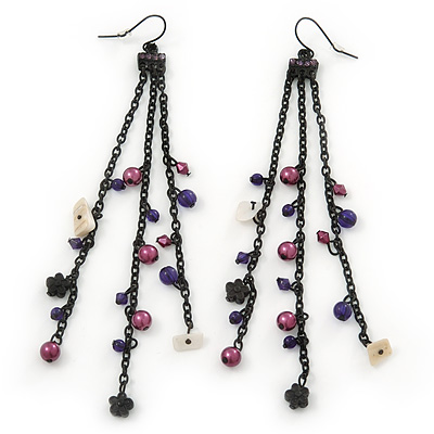 Long Black Tone Chain Dangle Earrings With Purple Acrylic Beads - 13cm Length