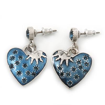 Vintage Inspired Blue Enamel, Crystal 'Heart' Drop Earrings In Antique Silver Metal - 33mm Length - main view