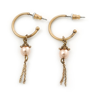 Small Vintage Inspired Antique Gold Tone Hoop Earrings With Pale Pink Simulated Pearl - 45mm Length