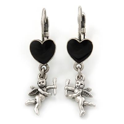 Vintage Inspired Silver Tone Black Enamel Heart, Angel Drop Earrings With Leverback Closure - 40mm Length