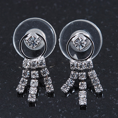 Bridal Wedding Prom Crystal Tassel Stud Earrings In Rhodium Plating - 20mm Length