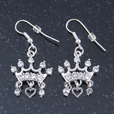 Silver Plated Clear Crystal 'Crown' Drop Earrings - 45mm Length