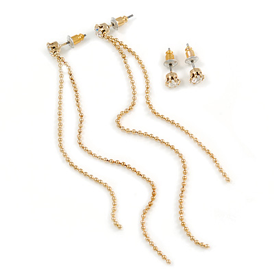 Gold Plated Tassel Drop & Crystal Stud Earring Set - 10cm Length