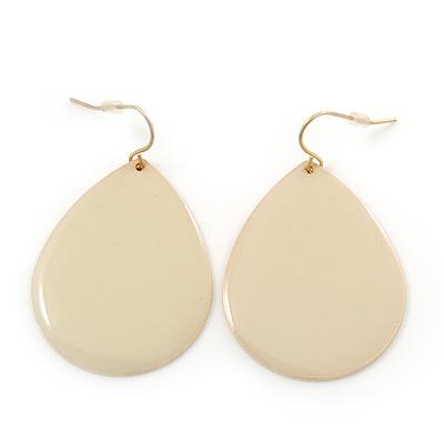 Cream Enamel Teardrop Earrings In Gold Tone - 50mm Length - main view