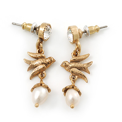 Vintage Inspired Swallow With Freshwater Pearl Drop Earrings In Gold Tone - 35mm Length