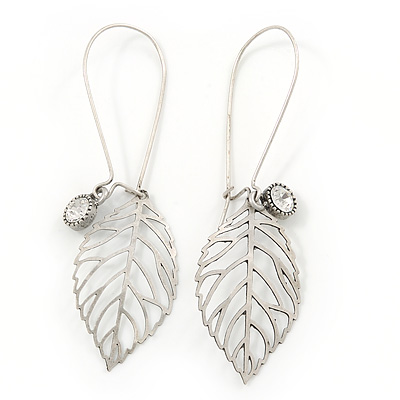 Vintage Inspired Diamante Filigree 'Leaf' Drop Earrings In Matt Silver Tone - 65mm L