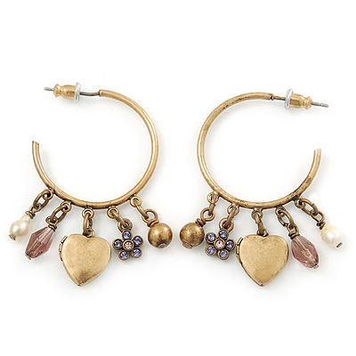 Medium Vintage Inspired Antique Gold Tone Hoop Earrings With Heart, Flower, Freshwater Pearl Charms - 40mm Length - main view