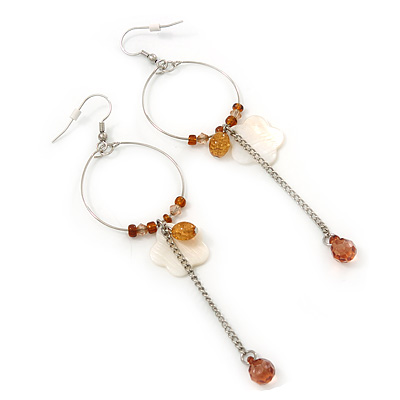 Silver Tone Brown Bead, Shell Flower Charm Hoop Earrings - 12cm Length