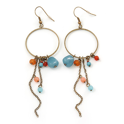 Antique Gold Semiprecious Bead, Chain Hoop Earrings - 12cm Length