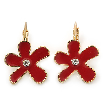Gold Plated Red Enamel 'Daisy' Drop Earrings With Leverback Closure - 30mm Length