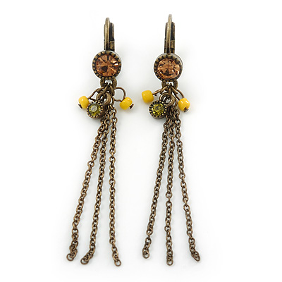 Vintage Inspired Diamante Bead, Chain Tassel Drop Earrings With Leverback Closure In Bronze Tone - 60mm Length
