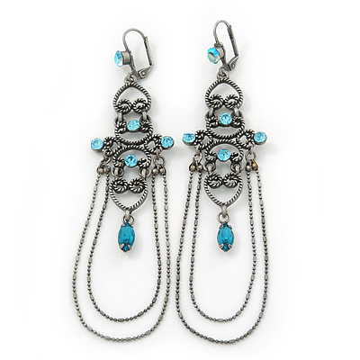 Long Vintage Inspired Light Blue Diamante Chandelier Earrings With Leverback Closure In Burn Silver Tone - 11cm Length